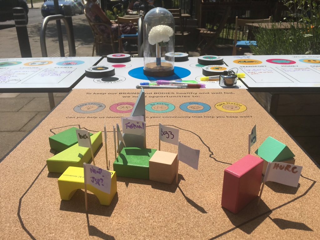 Bakers Brain is a table based game with colourful moveable pieces and a light up 3D printed brain under a glass dome
